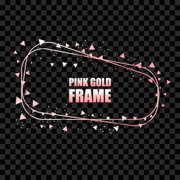 Realistyczna Prostokątna Rama W Kolorze Różowego Złota Premium Wektorów