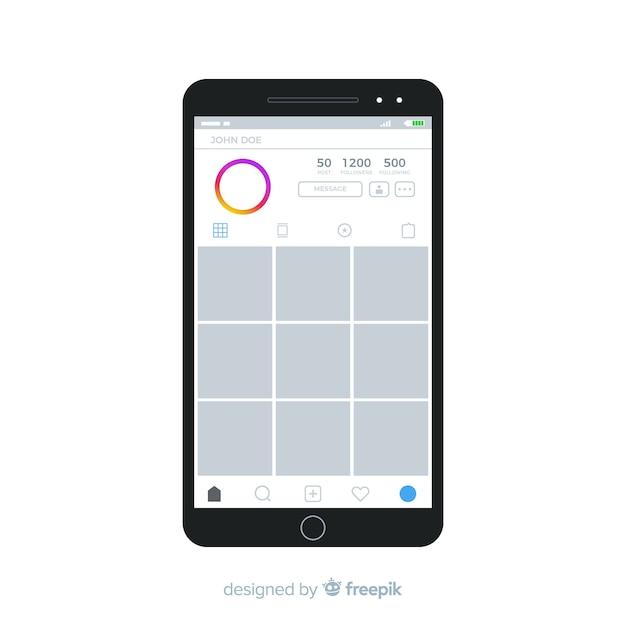 Realistyczna ramka na instagram na iphone Darmowych Wektorów