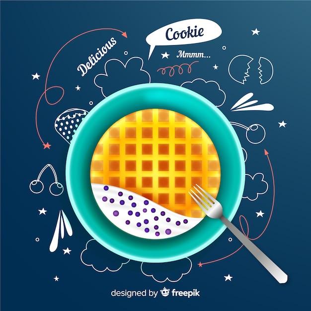 Realistyczna reklama cookie z doodles Darmowych Wektorów