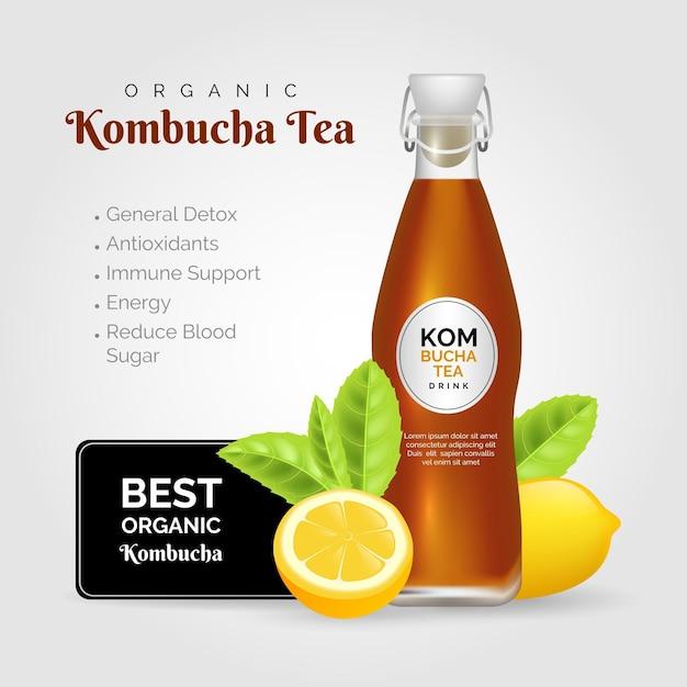 Realistyczna Reklama Herbaty Kombucha Darmowych Wektorów