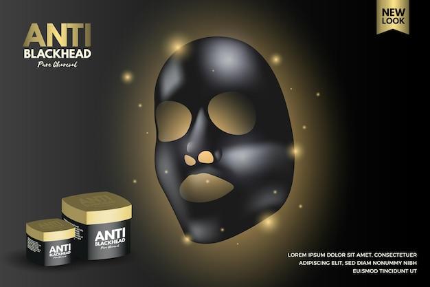 Realistyczna Reklama Maski W Płachcie Z Węglem Drzewnym Darmowych Wektorów