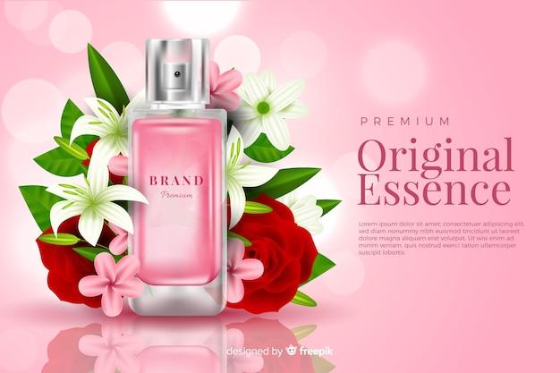 Realistyczna Reklama Perfum Z Kwiatami Darmowych Wektorów