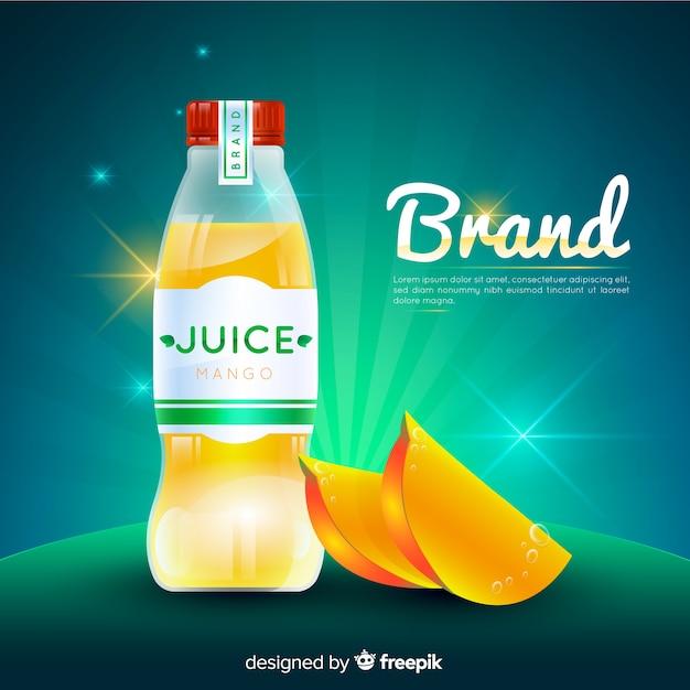 Realistyczna reklama soku z mango Darmowych Wektorów
