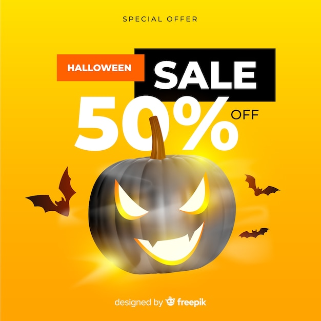 Realistyczna sprzedaż halloween na żółtym tle Darmowych Wektorów