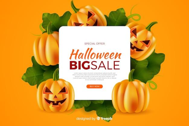 Realistyczna sprzedaż halloween z dyni na żółtym tle Darmowych Wektorów