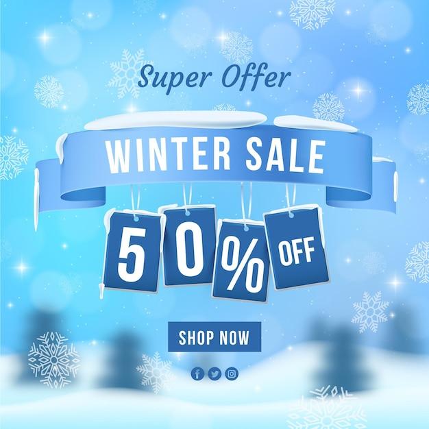 Realistyczna Super Oferta Zimowej Wyprzedaży Darmowych Wektorów