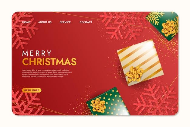 Realistyczna świąteczna Strona Docelowa Darmowych Wektorów