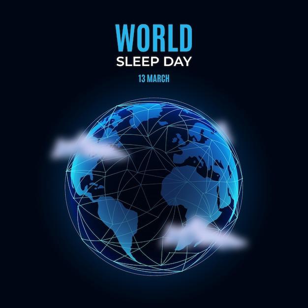 Realistyczna światowa Ilustracja Dzień Snu Z Planetą Darmowych Wektorów