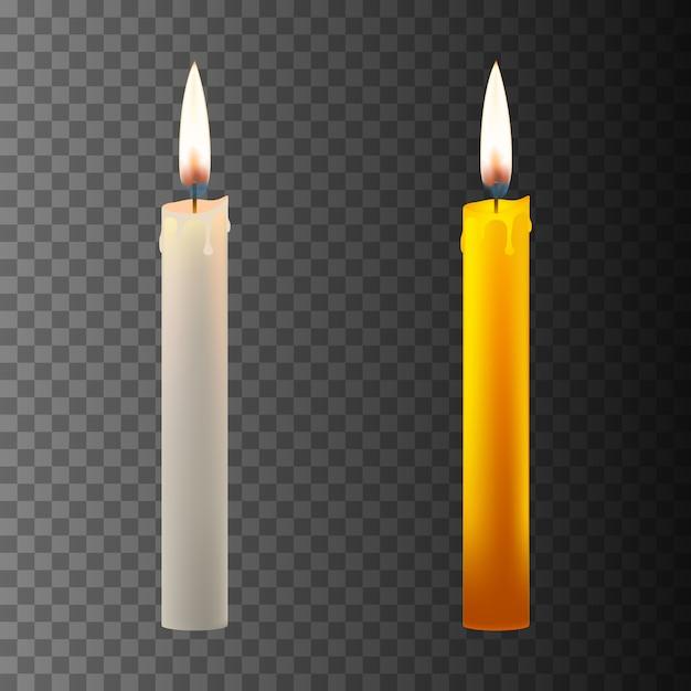 Realistyczna świeca W Ciemności Premium Wektorów