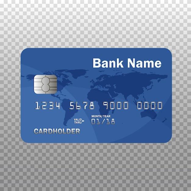 Realistyczna Szczegółowa Karta Kredytowa Lub Debetowa Na Przezroczystym Tle. Ilustracja. Odosobniony Premium Wektorów