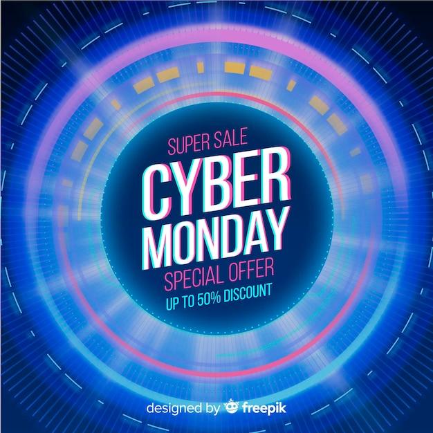 Realistyczna technologia banner cyber poniedziałek Darmowych Wektorów