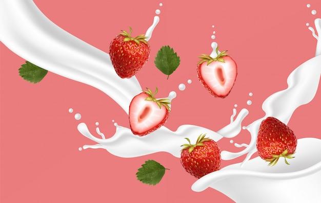 Realistyczna Truskawka Z Mlekiem, Jogurt Truskawkowy Premium Wektorów