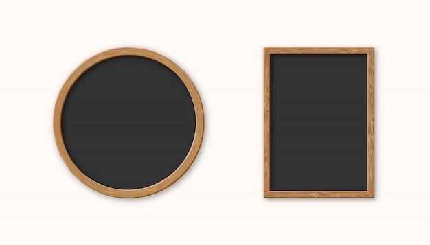Realistyczna Ustalona Drewniana Obrazek Rama Odizolowywająca Premium Wektorów