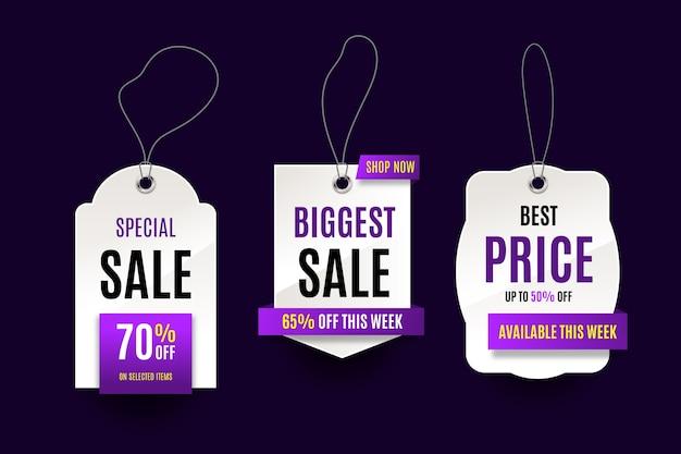 Realistyczna Wisząca Kolekcja Etykiet Sprzedaży Darmowych Wektorów