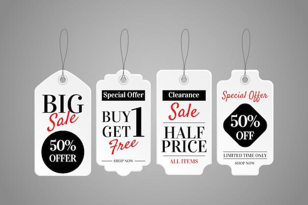 Realistyczna Wisząca Kolekcja Etykiet Sprzedaży Premium Wektorów