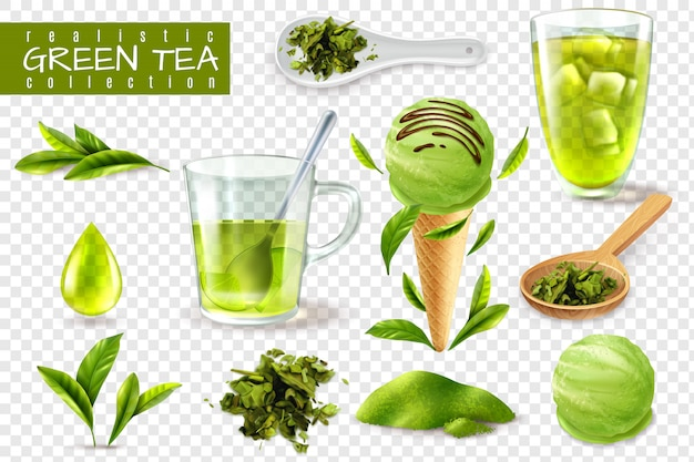Realistyczna Zielona Herbata Ustawiająca Z Odosobnionymi Wizerunkami Filiżanek łyżki I Naturalna Liścia Wektoru Ilustracja Darmowych Wektorów