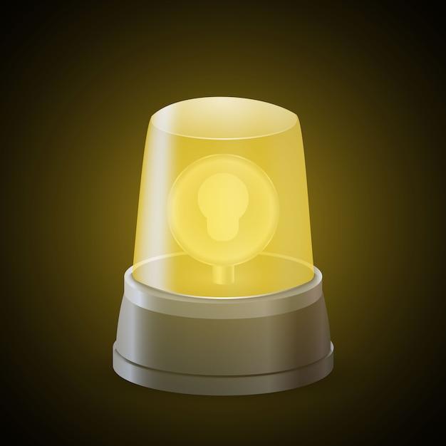 Realistyczna żółta syrena świetlna. znak ostrzegawczy Premium Wektorów