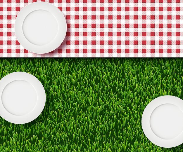 Realistyczne 3d Ilustracja Biały Pusty Talerz, Kratę Czerwony Kratę Na Zielonej Trawie Trawnik Premium Wektorów