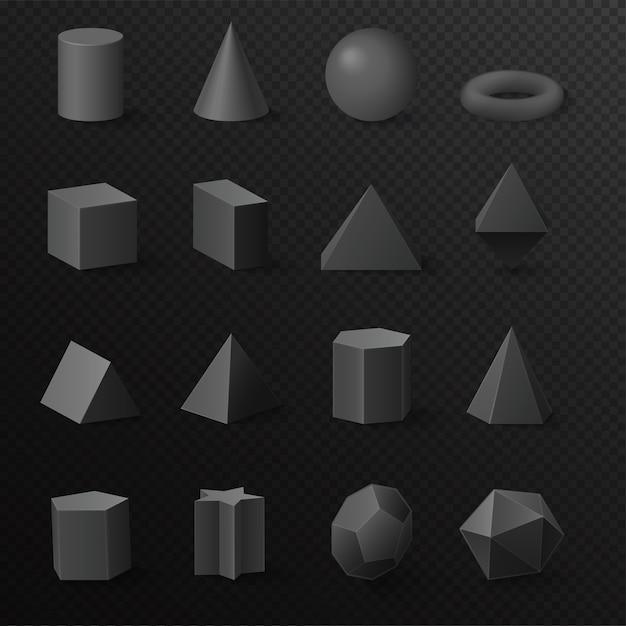 Realistyczne 3d Podstawowy Wolumetryczny Czarny Diament Kształtuje Zestaw Figurek Prymitywów Premium Wektorów
