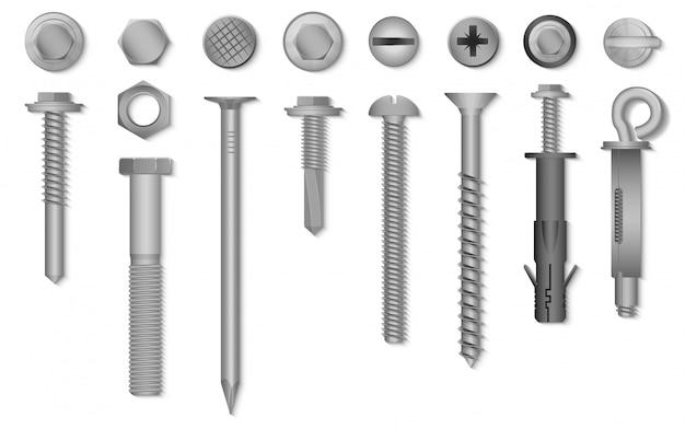Realistyczne 3d śruby, Nakrętki, śruby, Nity I Gwoździe Do Mocowania I Mocowania Premium Wektorów