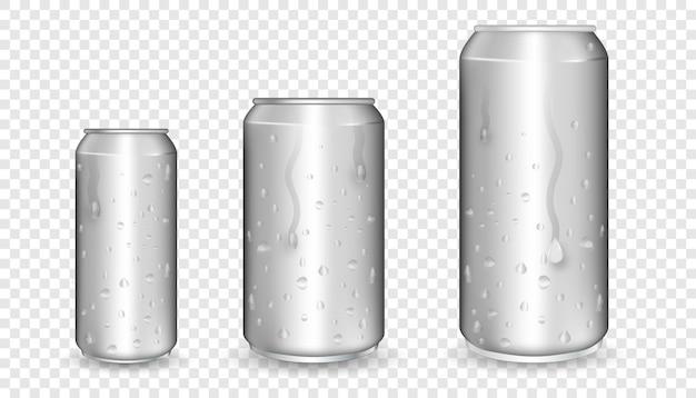 Realistyczne Aluminiowe Puszki. Metalowe Puszki. Makieta Pustych Puszek Aluminiowych. Premium Wektorów