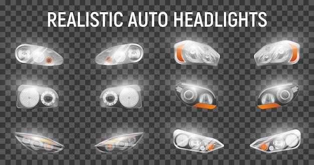 Realistyczne Auto Przednie Reflektory Ustawione Na Przezroczystym Tle Ze świecącymi Obrazami Pełnych Reflektorów Do Samochodów Darmowych Wektorów