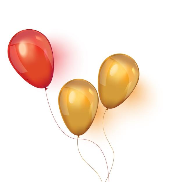 Realistyczne balony na białym tle Premium Wektorów