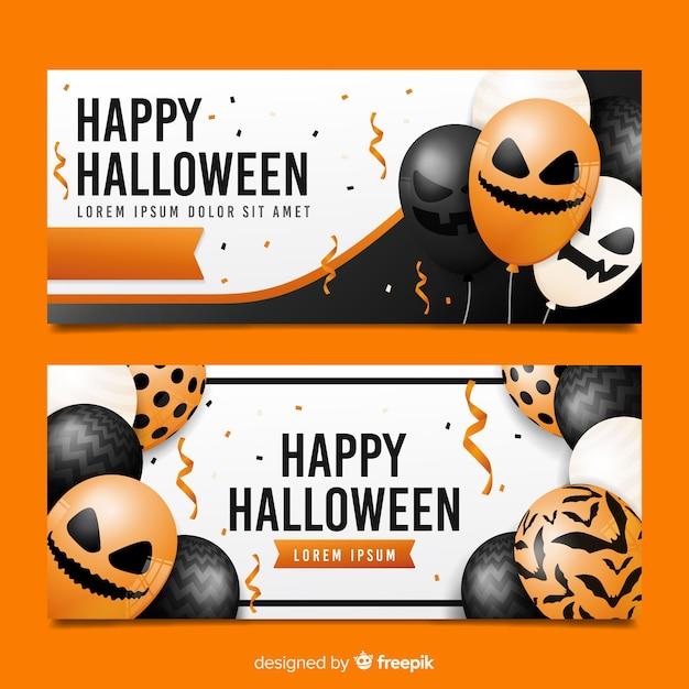 Realistyczne balony z twarzami na banery halloween Darmowych Wektorów