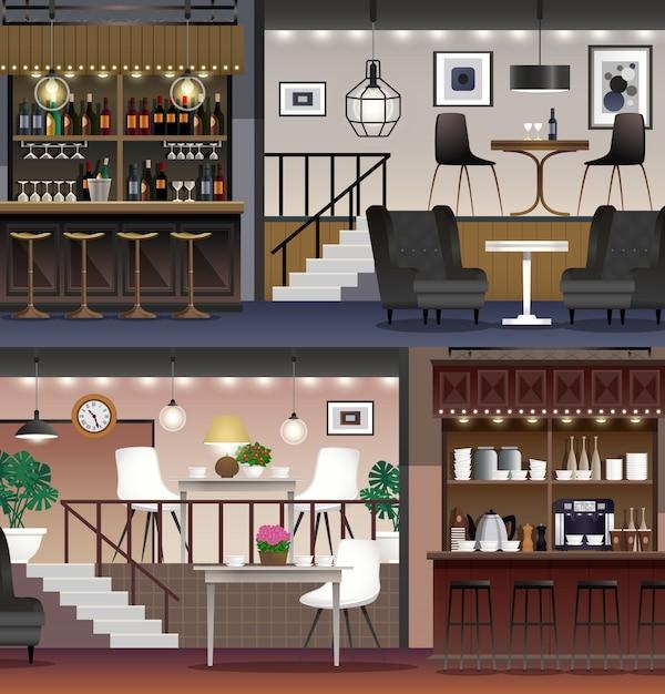 Realistyczne banery cafe bar Darmowych Wektorów