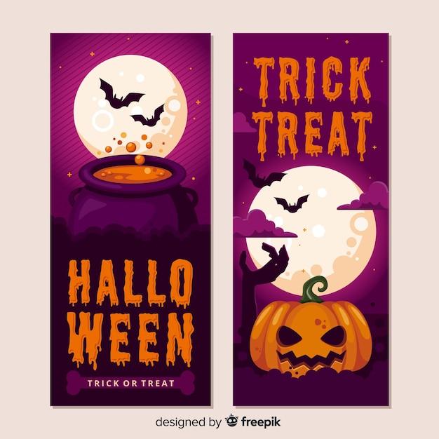 Realistyczne Banery Halloween Dynia Darmowych Wektorów
