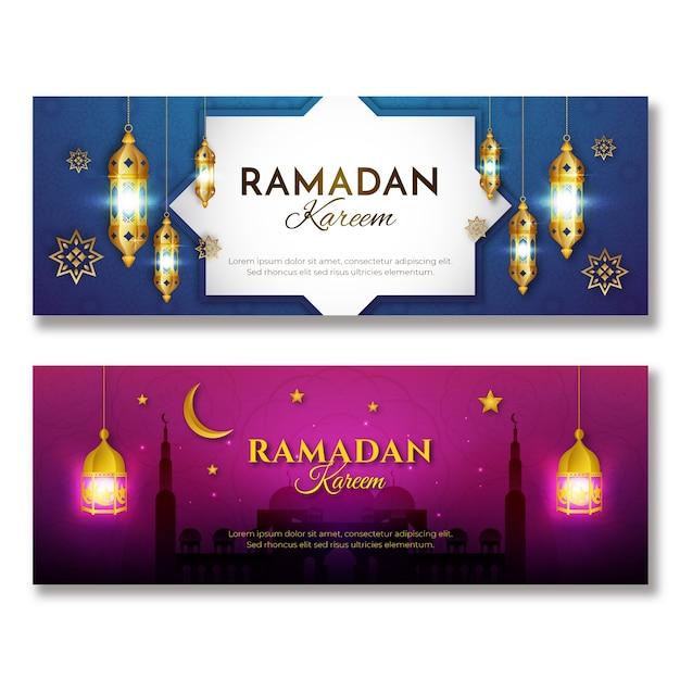 Realistyczne Banery Ramadan Darmowych Wektorów