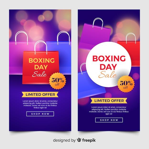 Realistyczne banery sprzedaż boxing dzień Darmowych Wektorów
