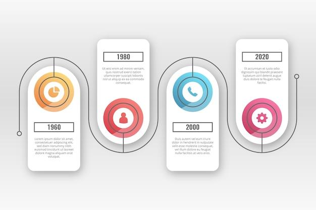 Realistyczne błyszczący osi czasu infographic Darmowych Wektorów