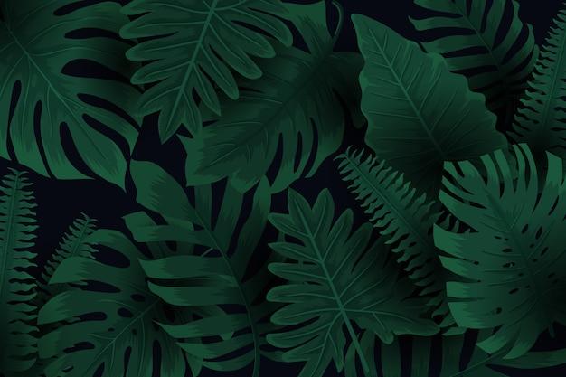 Realistyczne Ciemne Liście Tropikalny Tło Darmowych Wektorów