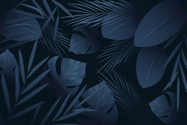 Realistyczne Ciemne Tropikalne Liście Motyw Tapety Darmowych Wektorów