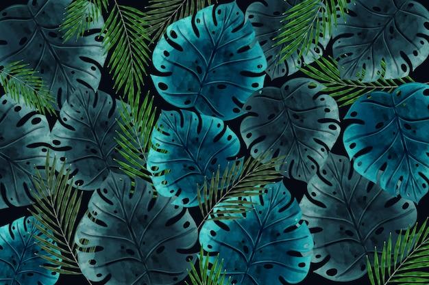 Realistyczne Ciemne Tropikalne Liście Tapety Darmowych Wektorów