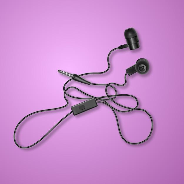 Realistyczne, Czarne Słuchawki Na Kolorowym Tle, Premium Wektorów