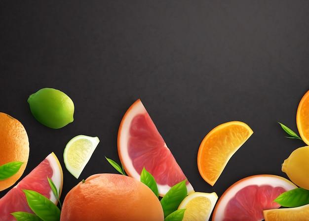 Realistyczne Czarne Tło Cytrusowe Z Całymi Owocami I Plasterkami świeżej Cytryny Pomarańczowej I Grejpfruta Darmowych Wektorów