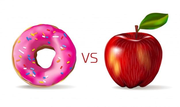 Realistyczne Czerwone Jabłko Przed Słodkim Różowym Pączkiem. Wegetarianizm I Zdrowy Styl życia. Junk Food Vs Zdrowe. Premium Wektorów