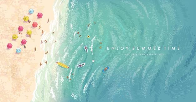 Realistyczne Elementy Letnie Na Tle Plaży Premium Wektorów