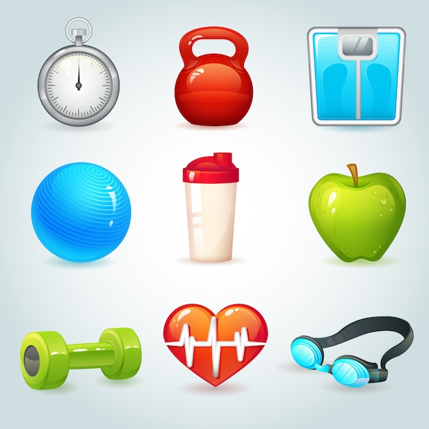 Realistyczne elementy sportu i fitness ustawić ilustracji wektorowych na białym tle Darmowych Wektorów