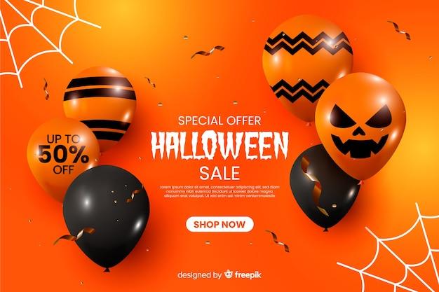 Realistyczne halloween sprzedaż tło z balonów Darmowych Wektorów