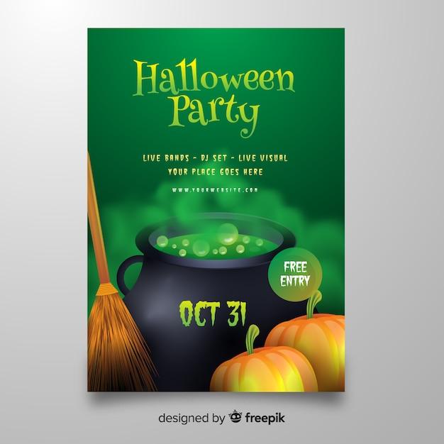 Realistyczne Halloween Toksyczny Gaz Z Plakatu Tygla Darmowych Wektorów