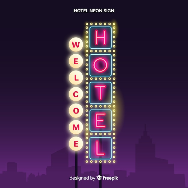 Realistyczne hotel neon znak tło Darmowych Wektorów