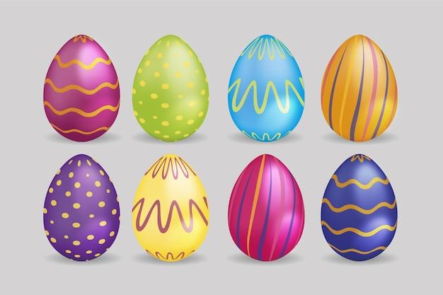 Realistyczne Jajka Wielkanocne Z Krzywymi Liniami I Kropkami ...
