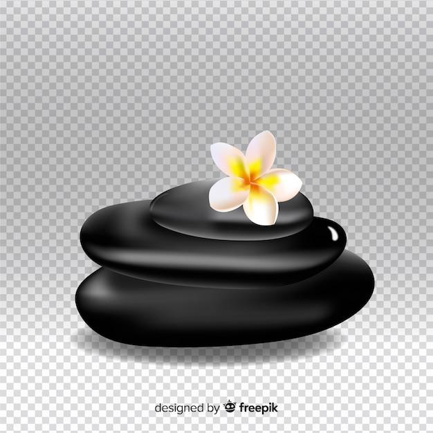 Realistyczne kamienie spa z kwiatami Darmowych Wektorów