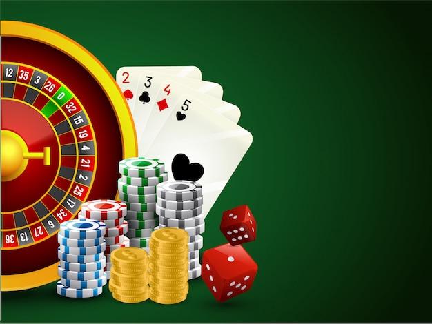 Realistyczne koło ruletki z żetony do pokera, kości, karty do gry. Premium Wektorów