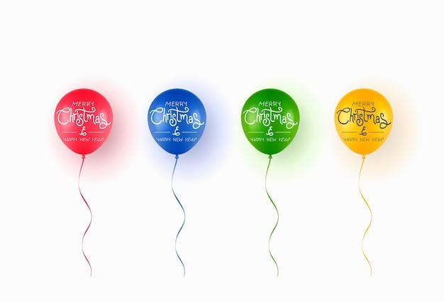 Realistyczne Kolorowe Balony Z Tekstem Wesołych świąt Na Białym Tle. Premium Wektorów