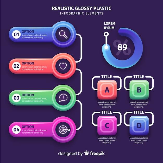 Realistyczne kolorowe elementy infographic kolekcja Darmowych Wektorów