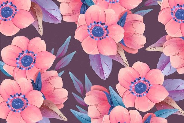 Realistyczne kolorowe ręcznie malowane tło kwiatowy Darmowych Wektorów